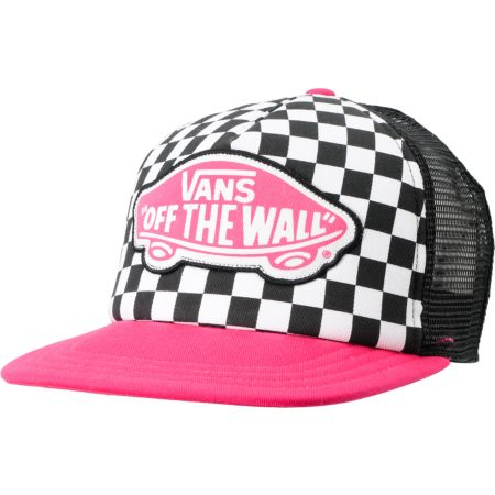 Vans Beach Girl Checker Black & Pink Snapback Trucker Hat