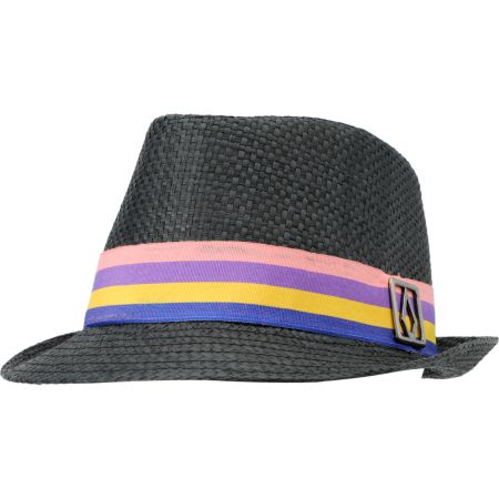 Volcom Girls Candy Shop Black Straw Fedora Hat