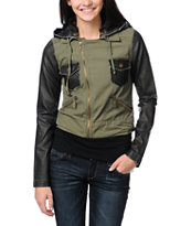 Billabong Girls Rev Up Olive Green Motorcycle Jacket