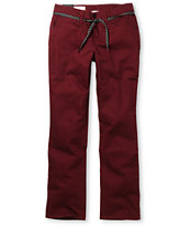 Empyre Skeletor Burgundy Red Slim Jeans