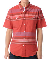 Volcom Dead Lock Red Stripe Button Up Shirt