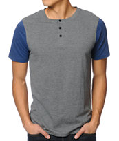 Dravus Ball Park Grey Henley Tee Shirt