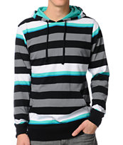 Empyre Merge Black Striped Hooded Long Sleeve Knit Shirt