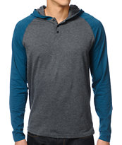 Dravus Defense Grey & Turquoise Hooded Henley Shirt