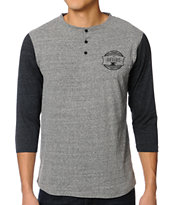 Dravus Shop Grey Henley Baseball Tee Shirt
