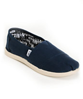 Toms Classic Navy Blue Canvas Slip-On Kids Shoe