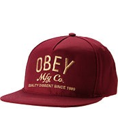 Obey MFG Burgundy Red Snapback Hat