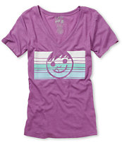 Neff Girls Dacoda Purple & Teal V-Neck Tee Shirt