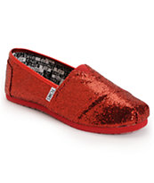 Toms Classic Red Glitter Slip-On Kids Shoe
