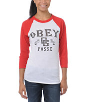 Obey Girls Sand Lot White & Red Baseball Tee Shirt