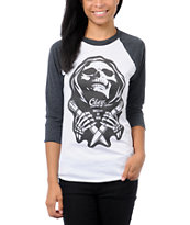 Obey Girls Masters of War White & Charcoal Baseball Tee Shirt