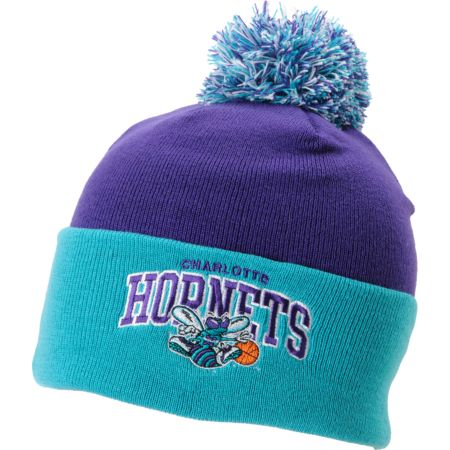 NBA Mitchell And Ness Charlotte Hornets Purple Pom Beanie
