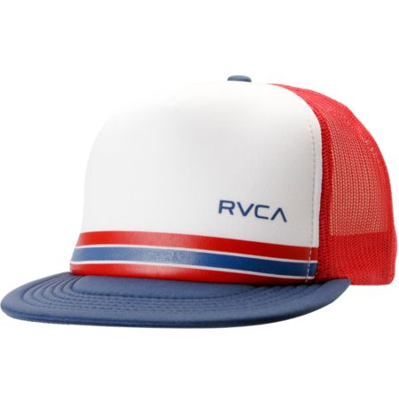RVCA Barlow Red, White & Navy Trucker Snapback Hat