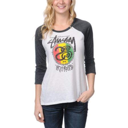 Stussy Girls Rasta Roots White Baseball Tee Shirt