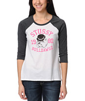 Stussy Girls Bulldawgz White Baseball Tee Shirt