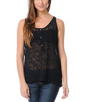Volcom Not So Classic Black Lace Tank Top