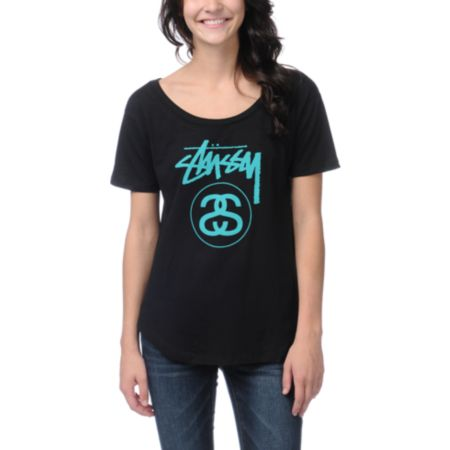 Stussy Girls Stock Link New Crew Black Tee Shirt