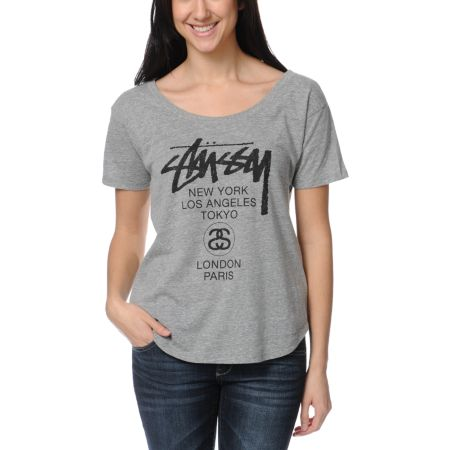 Stussy Girls World Tour Heather Grey Tee Shirt