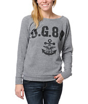Obey Navy Heather Grey Vandal Crew Neck Sweatshirt