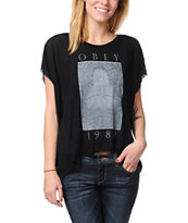 Obey Death 89 Black Straight Line Top