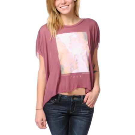 Obey Star Dust Berry Pink Straight Line Top