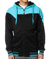 Volcom V-Line Black & Cyan 2013 Zip Up Tech Fleece Jacket