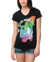 A-Lab Girls Rainbow Cat Black V-Neck Tee Shirt