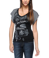 Metal Mulisha Girls Magdalena Black V-Neck Dolman Top