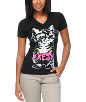 A-Lab Girls Cat Fresh Glow In the Dark Black V Neck Tee Shirt
