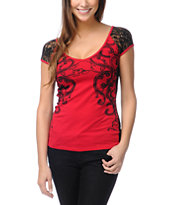 Metal Mulisha Girls Alluring Lace-Back Red V-neck Top