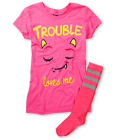 Bitter Sweet Trouble Loves Me Graphic Tee & Socks Pack