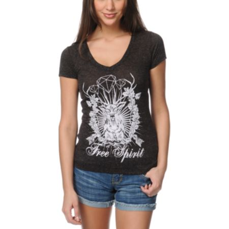 Empyre Girls Free Spirit Heather Black V-Neck Tee Shirt