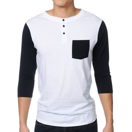 Dravus Pickpocket White & Black Henley Baseball Tee Shirt