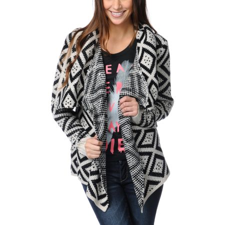 Element Girls Esther Black & White Wrap Sweater