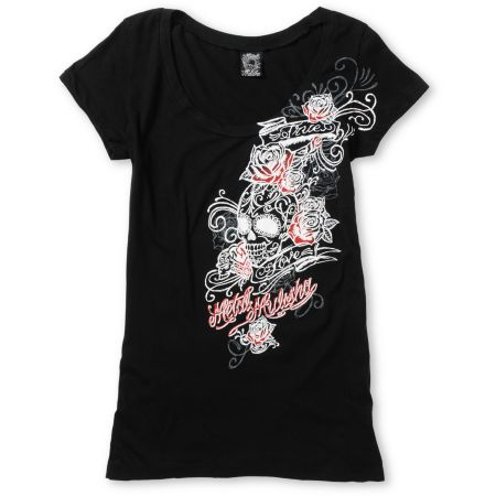 Metal Mulisha Girls True Black Scoop Neck Tee Shirt