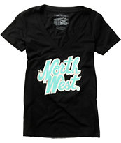 Casual Industrees The North West Girls Black V-Neck Tee Shirt