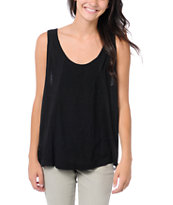 Element Girls Spell Black Crochet Back Tank Top