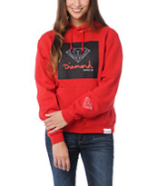 Diamond Supply Girls OG Sign Red Pullover Hoodie
