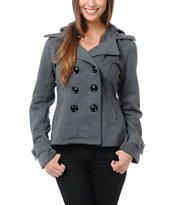 Sebby Charcoal Grey Fleece Hooded Pea Coat