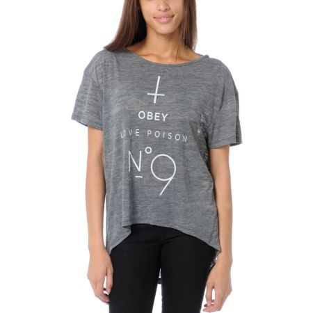 Obey Girls No 9 Ash Heather Grey Low Back Tee Shirt