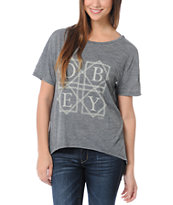 Obey Girls Quilted Love Grey Low Back Tee Shirt