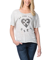 Obey Girls Biker Love Lost Oatmeal Low Back Tee Shirt