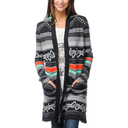 Billabong Tralalah Tribal Print Long Cardigan Sweater