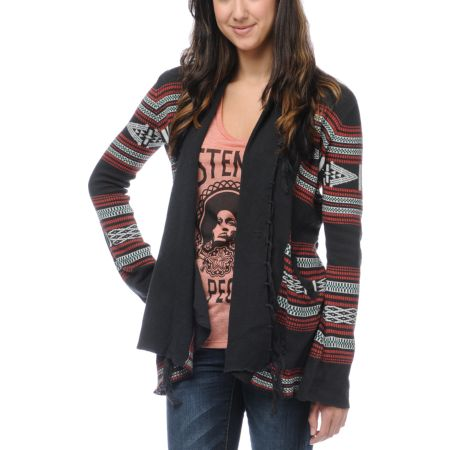 Billabong Girls Issah Tie Native Print Cardigan Sweater