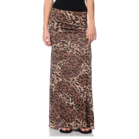 Billabong Girls Anina Cheetah Print Maxi Skirt