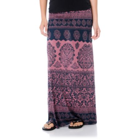 Billabong Girls Anina Crushed Berry Red Maxi Skirt