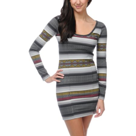 Billabong Hand Outs Long Sleeve Tribal Print Body Con Dress