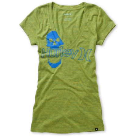 Hurley Girls One & Only Plus Skully Green V-Neck Tee Shirt