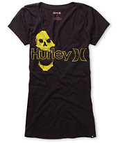 Hurley Girls One & Only Plus Skully Blackberry V-Neck Tee Shirt