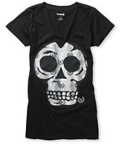Hurley Girls Spin On Sunshine Black V-Neck Tee Shirt